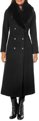One Madison Fur-Collar Double Breasted Long Coat