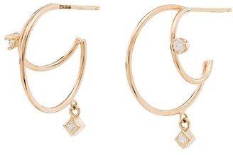 Zoë Chicco 14kt Yellow Gold Diamond Double Hoop Earrings