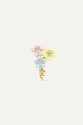 Alison Lou Daisy Bouquet 14-karat Gold, Diamond And Enamel Earring - one size