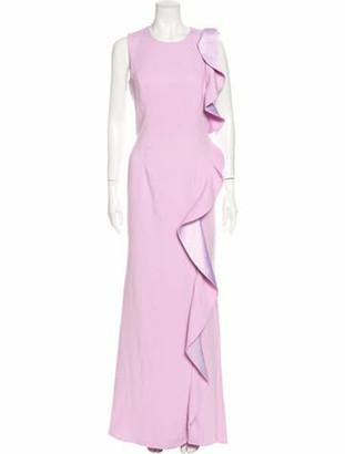 Carmen Marc Valvo Crew Neck Long Dress Purple