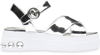 Miu Miu Crystal-Embellished Platform Sandals