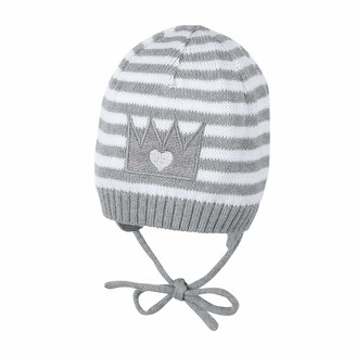 Sterntaler Girls Knit Cap with Bow Strings Age: 3-4 Months Size: 39 cm Silver