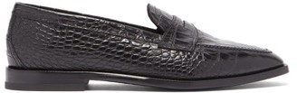 Etro Crocodile-effect Leather Penny Loafers - Mens - Black