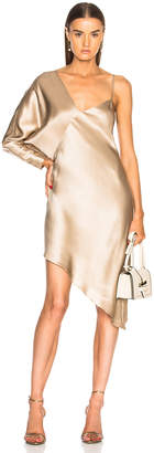 Mason by Michelle Mason for FWRD Asymmetrical One Shoulder Dress in Champagne | FWRD