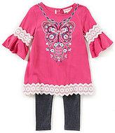Flapdoodles Little Girls 2T-6X Butterfly Bell-Sleeve Dress & Leggings Set