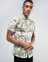 Solid Shirt In Palm Print Wth Short Sleeves In Regular Fit
