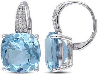 Diamond Select Cuts 14K 23.51 Ct. Tw. Diamond & Sky Blue Topaz Earrings