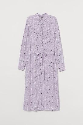 H&M Patterned Shirt Dress - Purple
