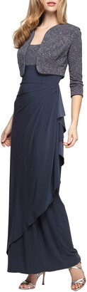 Alex Evenings Draped Column Gown with Bolero Jacket