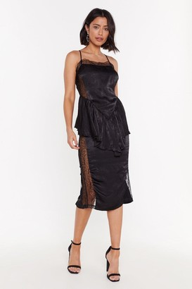 Nasty Gal Womens Smooth Things Over Lace Midi Dress - Black
