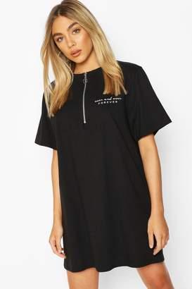 boohoo Zip Detail Short Sleeve Embroidered T-shirt Dress