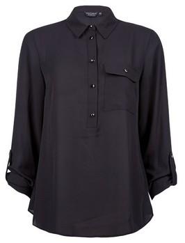 Dorothy Perkins Womens Black Roll Sleeve Shirt, Black