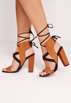 Missguided Cross Strap Lace Back Block Heeled Sandals Brown