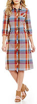Pendleton Sunset Canyon Point Collar Roll-Tab Sleeve Plaid Shirt Dress