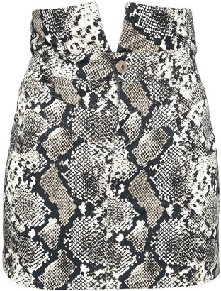 ATTICO Python Print Denim Mini Skirt