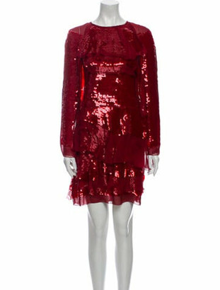 Lanvin Crew Neck Mini Dress Red