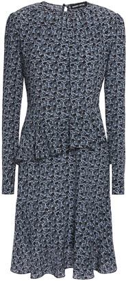 Markus Lupfer Julia Ruffled Floral-print Silk-crepe Mini Dress