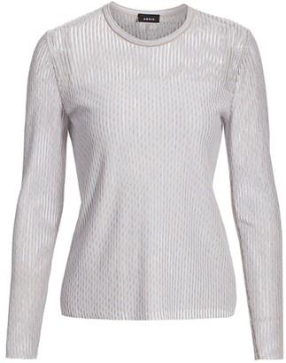 Akris Diagonal Jacquard Tweed Knit Pullover