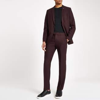 River Island Mens Farah burgundy hopsack skinny suit trousers