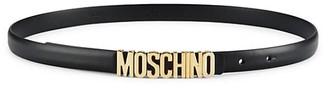 Moschino Slim Logo Leather Belt