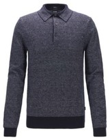 BOSS Knitted sweater in cotton and linen with polo collar