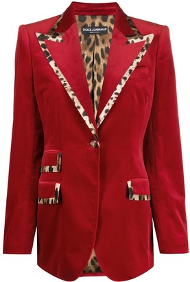 Dolce & Gabbana Leopard Print Trimmed Blazer