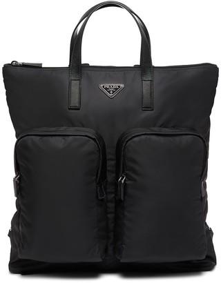 Prada Large Logo-Plaque Backpack