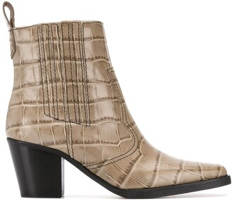 Ganni Embossed Crocodile Effect Ankle Boots