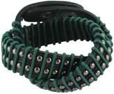 Ever Faith Round Decor Rope Genuine Leather Men Wristband Wrap Bracelet Unisex Couple - N03734-6