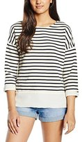 Benetton Women's Stripe Button Back Sweatshirt