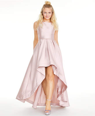 Speechless Juniors' Satin Twill High-Low Fit & Flare Dress