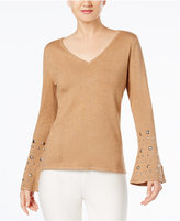 INC International Concepts Anna Sui Loves Embellished Bell-Sleeve Sweater, Created for Macy's