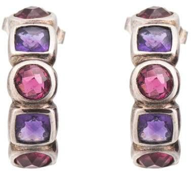 David Yurman 925 Sterling Silver & 18K Yellow Gold Amethysts & Pink Sapphires Huggie Earrings