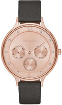 Skagen Women's Chronograph Anita Gray Leather Strap Watch 36mm SKW2392