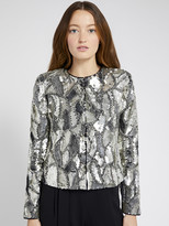 Alice + Olivia KIDMAN METALLIC SEQUIN JACKET