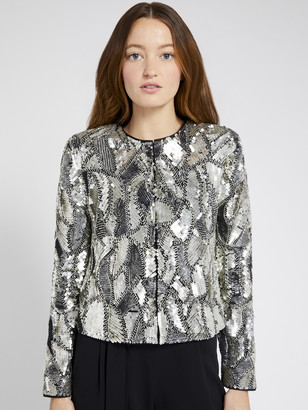 Alice + Olivia Kidman Metallic Sequin Jacket
