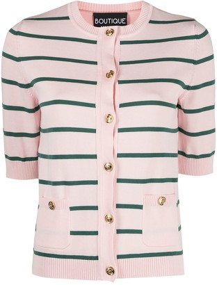 Boutique Moschino Horizontal Stripe Knitted Cardigan