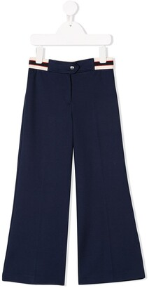 Gucci Kids Striped Waistband Flared Trousers