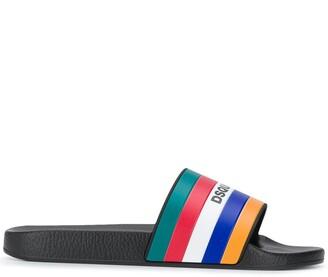 DSQUARED2 Striped Logo Slides