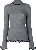 Stella McCartney ruffle trimmed turtleneck knit - women - Cotton/Wool - 40