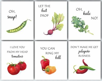 L & O Goods Funny Kitchen Wall Art | Farmhouse Rustic or Modern Home & Kitchen Decor | Vegetable Theme Set Decorations | Artwork Pictures for Dining Room and Kitchen | Set of Six Posters 8 x 10