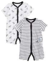 Little Me Zebra 2-Pack Rompers