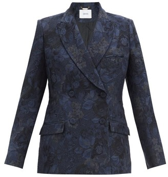Erdem Freesia Floral-jacquard Double-breasted Jacket - Navy