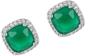 Eye Candy La Luxe Silvertone & Crystal Cushion Stud Earrings