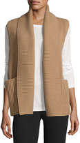Lafayette 148 New York Shawl-Collar Rib-Knit Vest, Camel