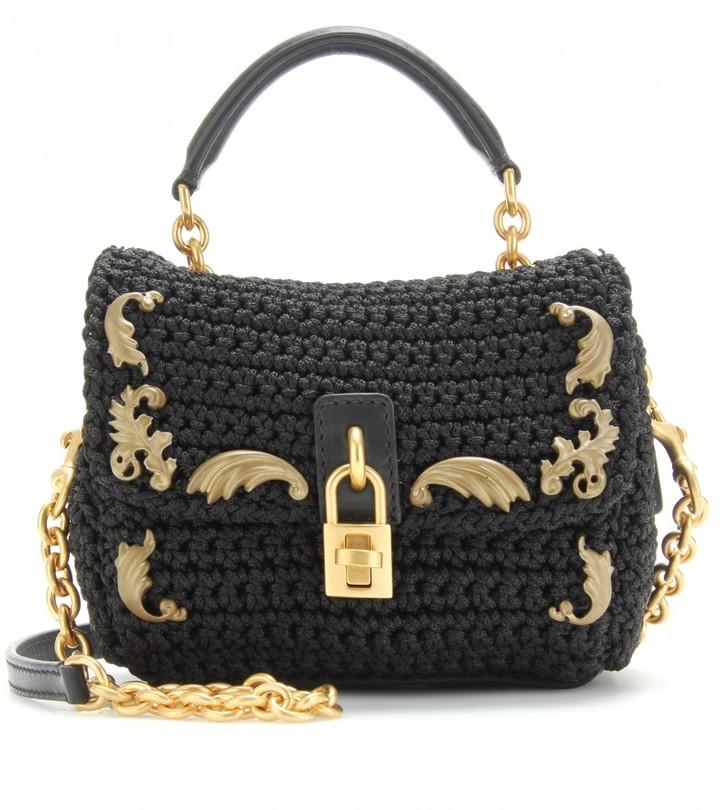 Dolce & Gabbana MINI FLAP-OVER SHOULDER BAG WITH EMBELLISHMENT