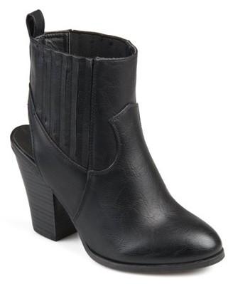 Brinley Co. Women's Faux Leather Stacked Wood Heel Slingback Western Almond Toe Booties