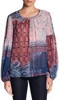 BCBGMAXAZRIA Sheer Bishop Sleeve Silk Blouse
