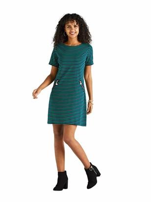 Yumi Green Stripe Zip Detail Shift Dress