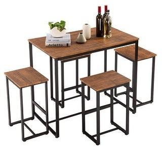 Overstock Simple Breakfast Bar Bistro Table and Chairs Kitchen Counter Set of 5